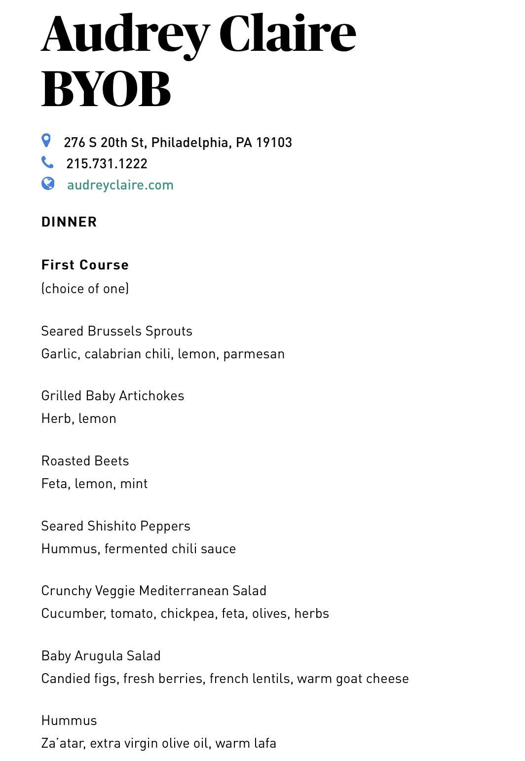 Audrey Claire byob menu