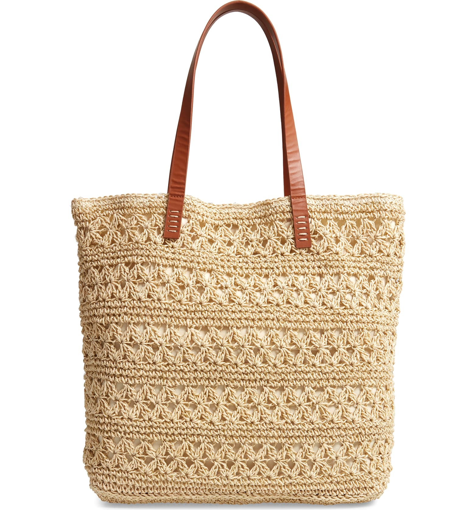 A roomy woven-raffia tote with easy over-the-shoulder handles serves as a breezy everyday essential - or a perfect, STYLISH beach bag!