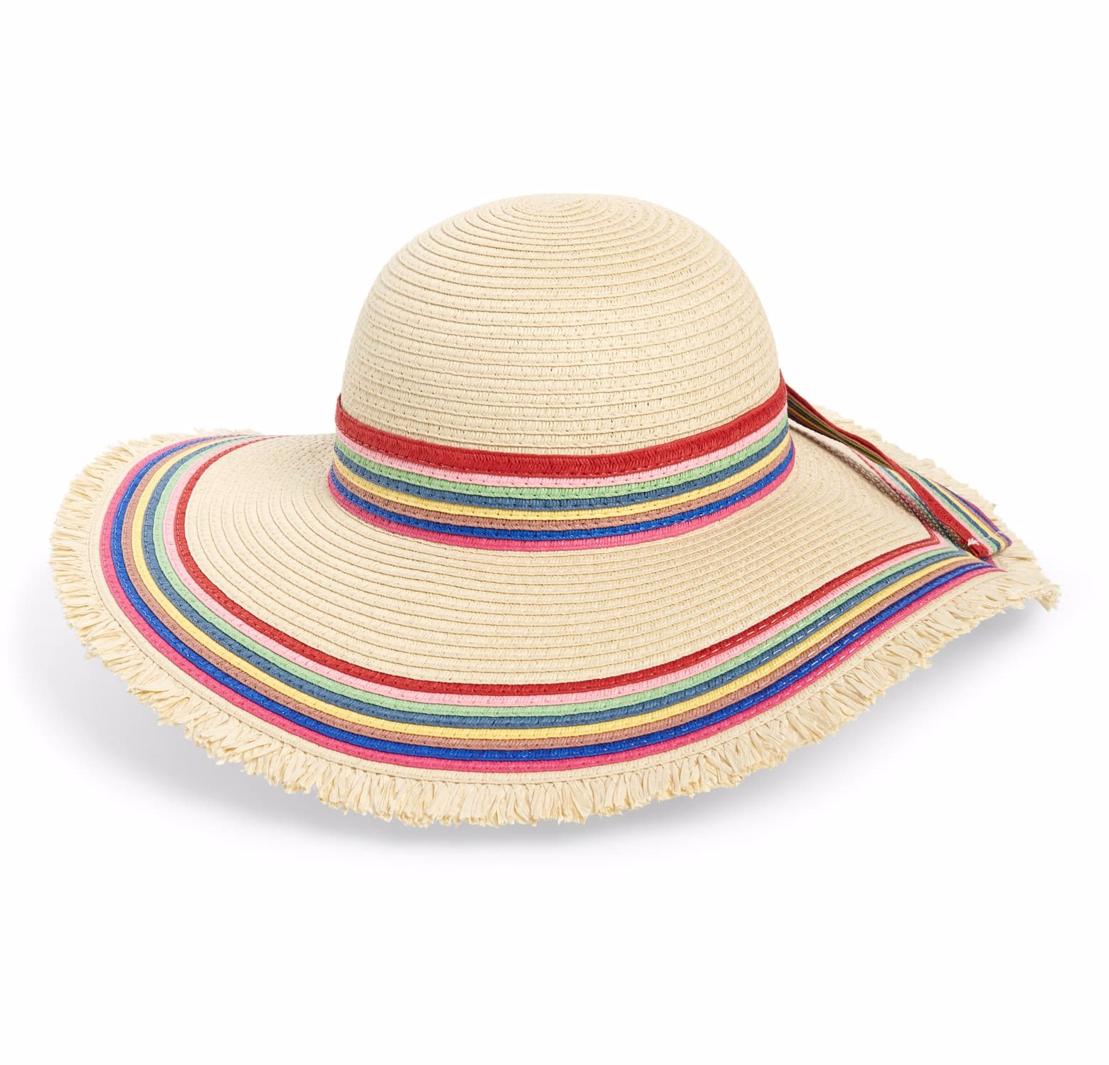 Floppy brim on a straw hat edged with feathery fringe!