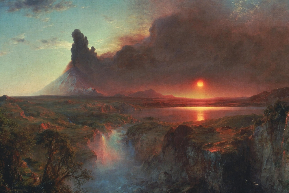 Cotopaxi. Painting by Frederic Edwin Church (1862). The dramatic volcano captures the essence of the natural world that science tries to understand while the sun forms a cross as it sets over the lake. An age old debate of science versus religion depicted in a wonderful piece of romantic art.