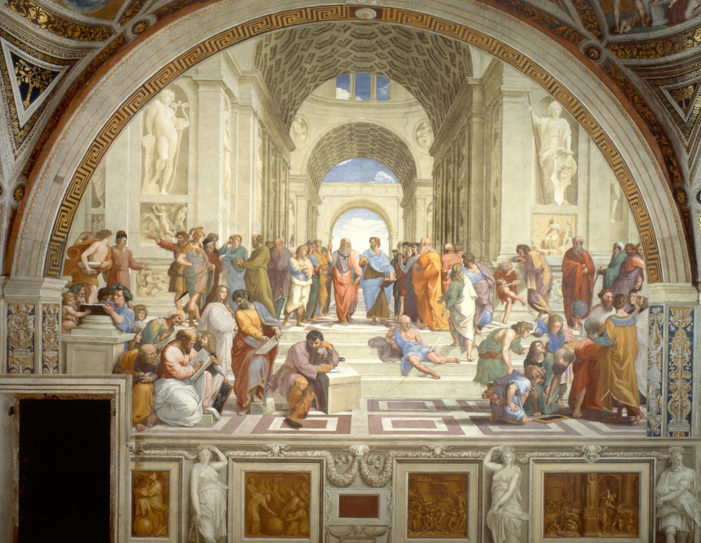 School of Athens. Raphael. At the centre of this famous fresco are Plato (in red, point up) and Aristotle (in blue, pointing forward). Hard to think of a more famous mentor-mentee combination (aside from Socrates and Plato, or Aristotle and Alexander the Great).