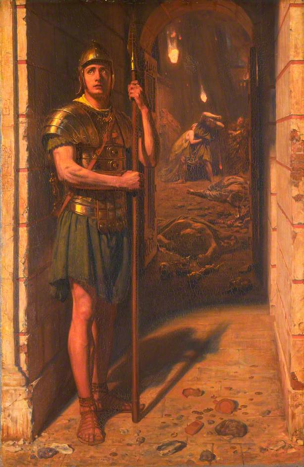 Faithful Unto Death. Edward John Poynter. Painting of a guard remaining at their post during the eruption at Pompeii. This painting was incredibly popular during the Victorian period, when concepts of absolute duty and obedience to the military were appealing.