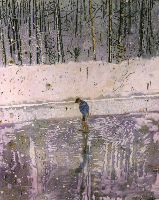 Blotter. Peter Doig. Self-reflection and penetrating, damp cold.