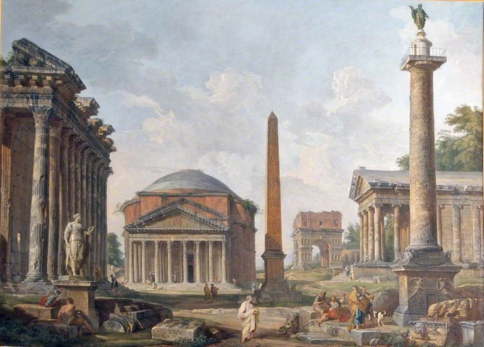 Ruins of Rome. Giovanni Paolo Panini. Rome circa 298.456239 kelvin.
