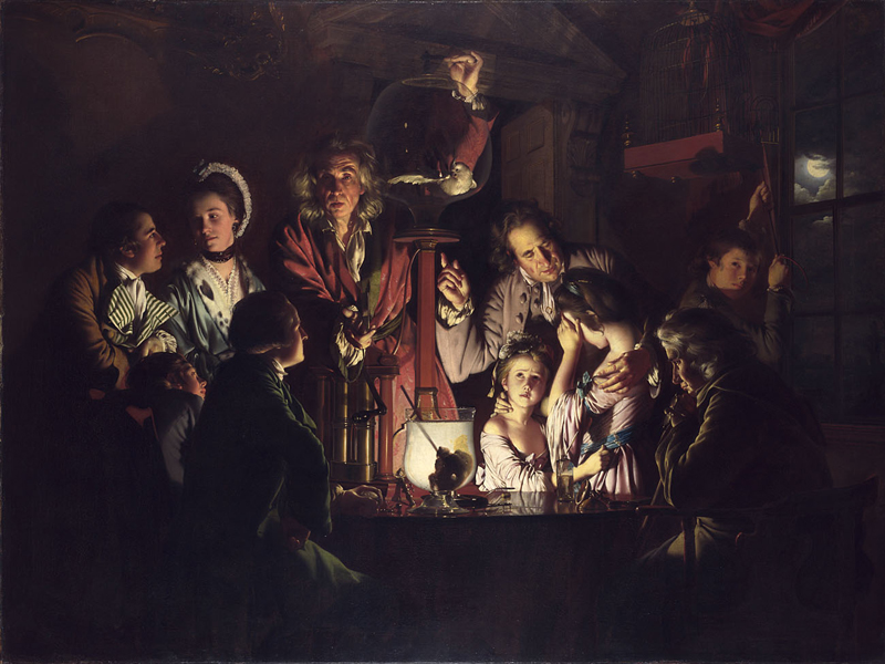 An Experiment on a Bird in the Air Pump. Joseph Wright 'of Derby.' The proverbial canary in the coal mine is dead.