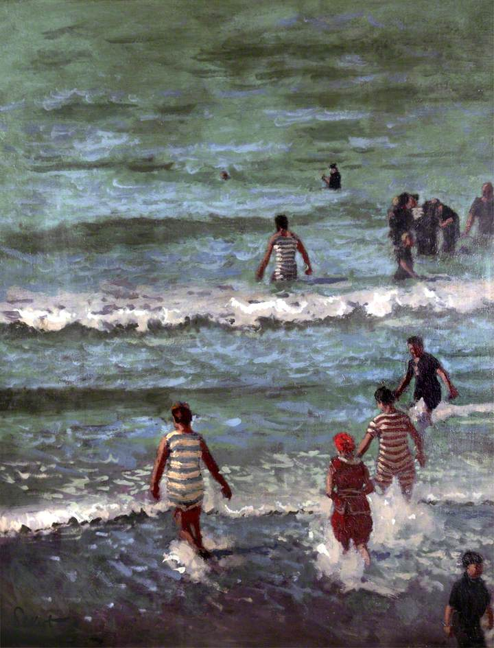 The Bathers, Dieppe, 1902. Walter Richard Sikert. Taking those first steps into cool water may be uncomfortable but humans are adept at acclimatization.