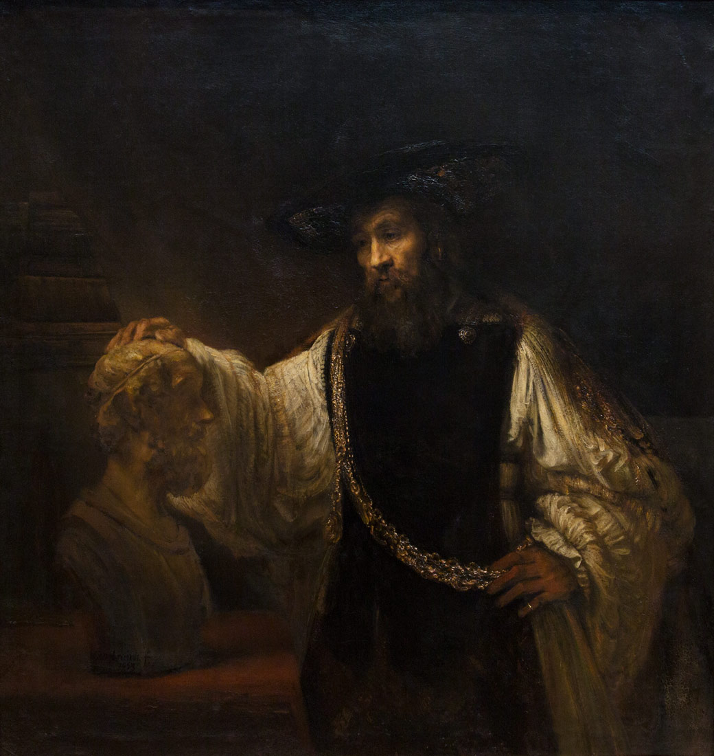 Aristotle Contemplating a Bust of Homer. Rembrandt. Rather than be illuminated by a phone screen, I'll just let someone chiaroscuro all over my face.