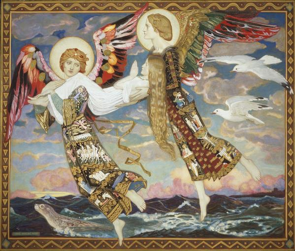 Saint Bride. John Duncan. The modern scientific process saving lives. Not pictured: Profit and exploitation.
