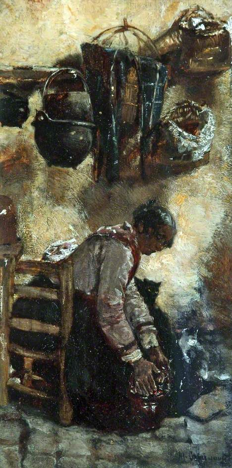 Cottage Interior with Seated Woman. Max Liebermann.
