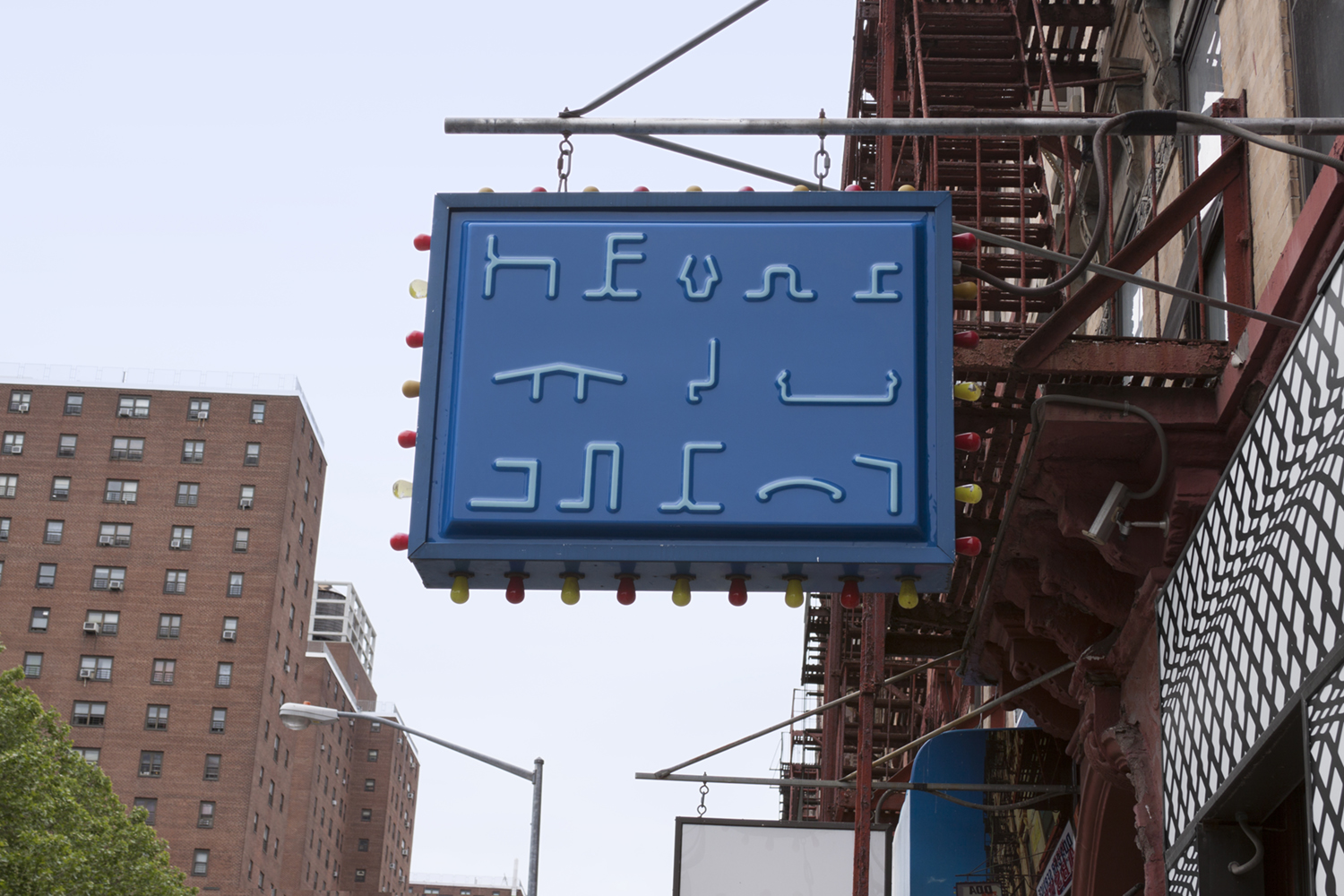Aluminum Poetry,  hand-painted, vacuum-formed sign, 35.5in x 47.25in   Regina Rex, 221 Madison St. New York, NY  2016