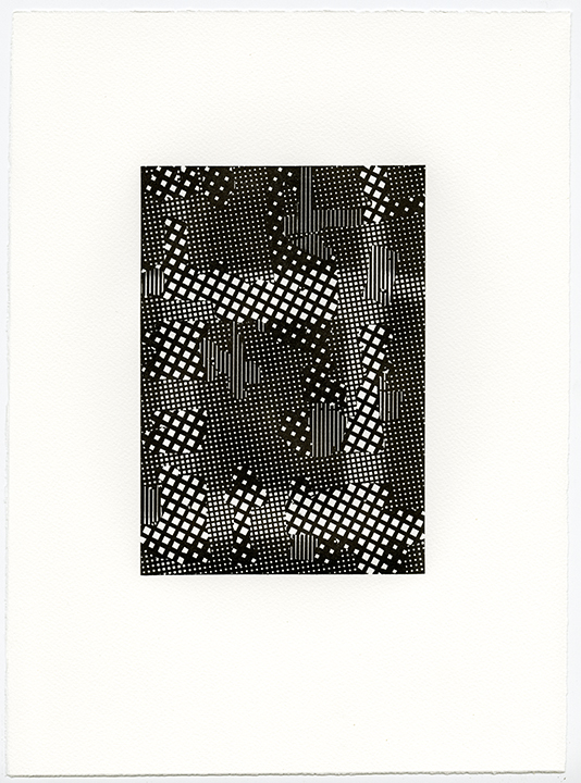 Untitled (AR 265-282 May 81),  letterpress on Somerset textured paper, (black suite), plate 8.25 x 5.75, paper 15 x 11 inches, 2015