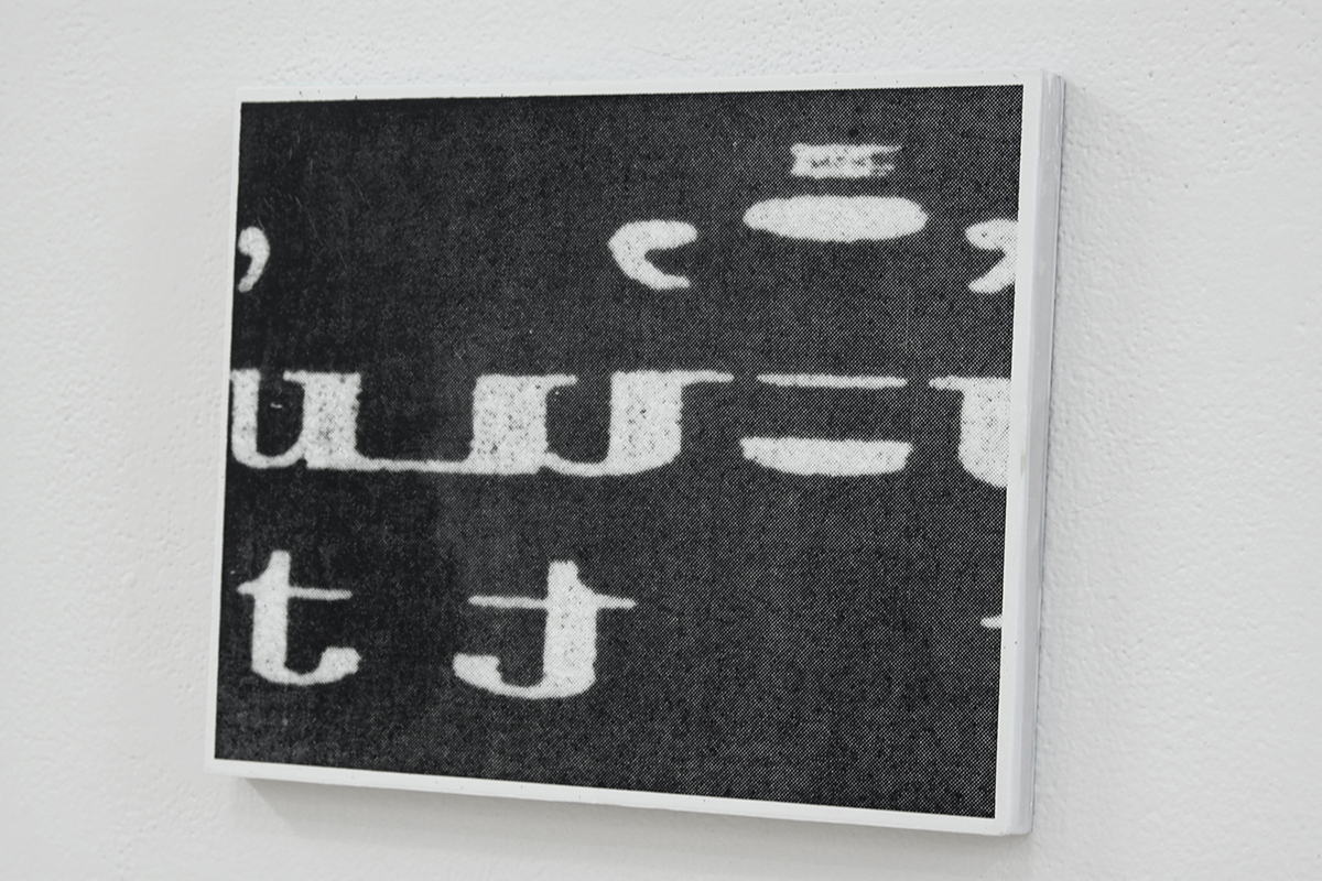 Untitled (AiA129),  silkscreen ink and gesso on panel, 11 x 8.5 inches, 2010