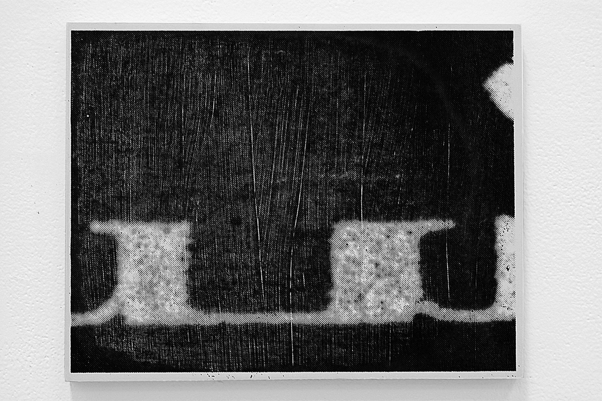 Untitled (AiA129),  silkscreen ink and gesso on panel, 8.5 x 11 inches, 2010