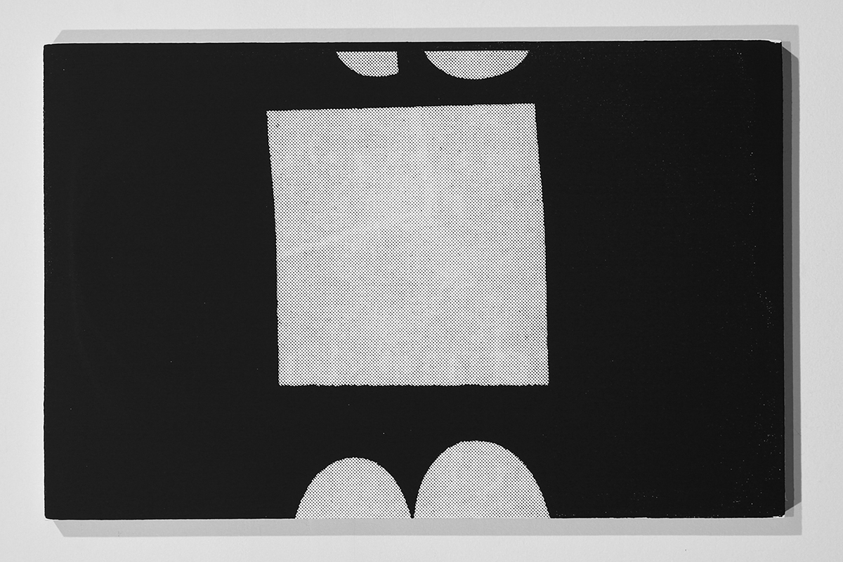 Untitled (F10/22/47),  silkscreen ink and gesso on panel, 11 x 17 inches, 2012  Bag Wash  at  KNULP  2015