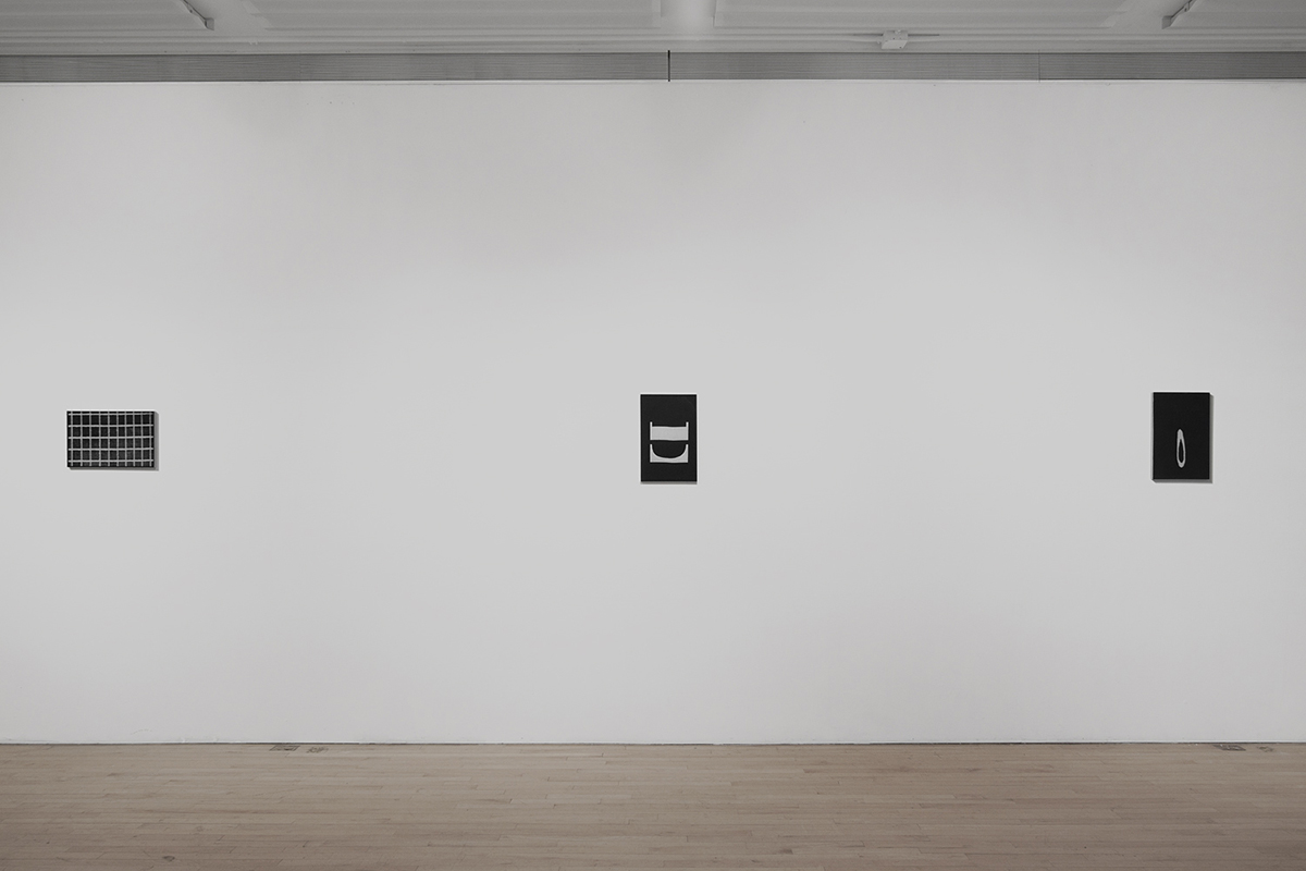 Untitled (F10/22/47),  silkscreen ink and gesso on panel, 11 x 17 inches each, 2012