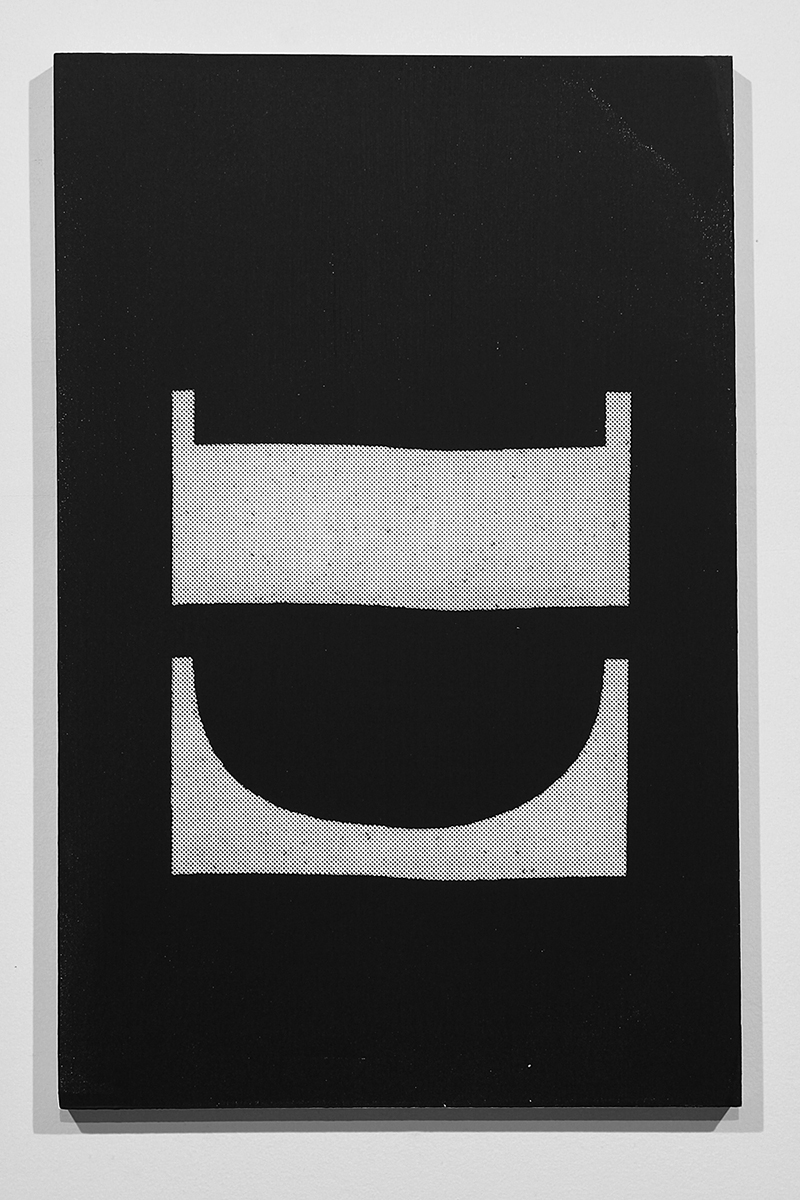 Untitled (F10/22/47),  silkscreen ink and gesso on panel, 17 x 11 inches, 2012