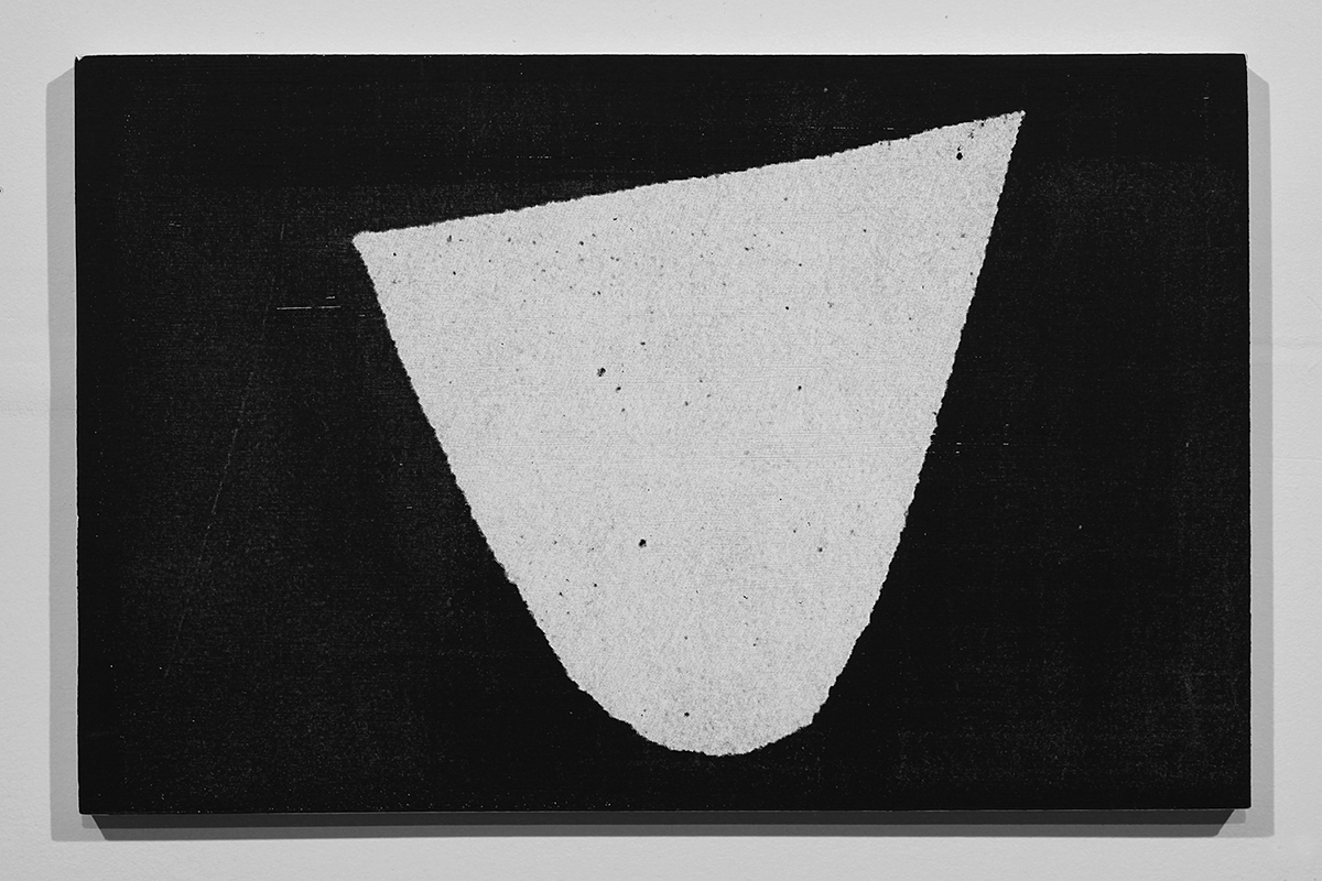 Untitled (F10/22/47),  silkscreen ink and gesso on panel, 11 x 17 inches, 2012