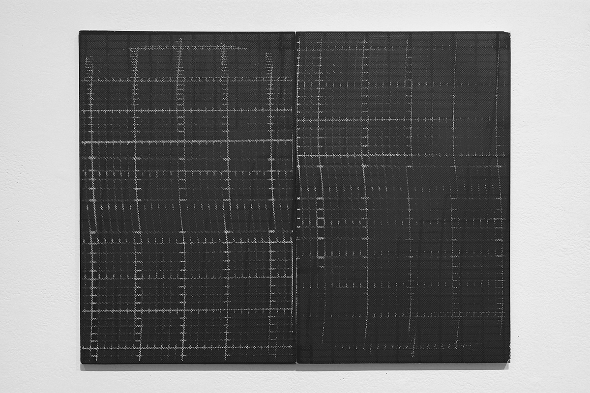 Untitled (F10/22/47),  silkscreen ink and gesso on panel, 17 x 22 inches, 2012