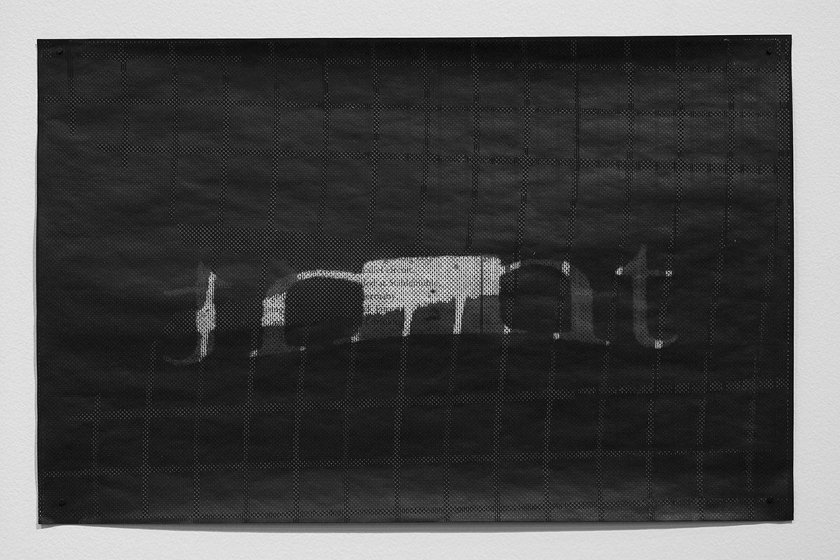 Untitled (F10/22/47),  silkscreen over photocopy and laser-print, 11 x 17 inches, 2012