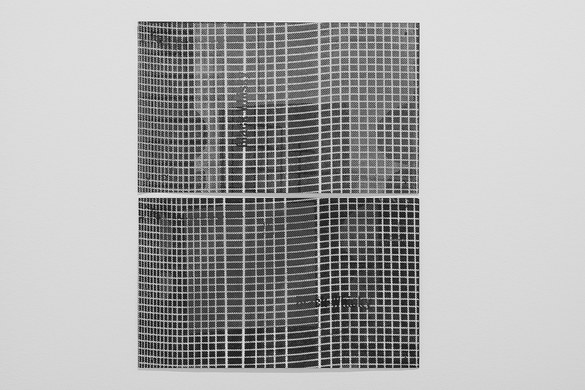 Untitled (F10/22/47),  silkscreen over photocopy and laser-print, 17 x 14.5 inches, 2012