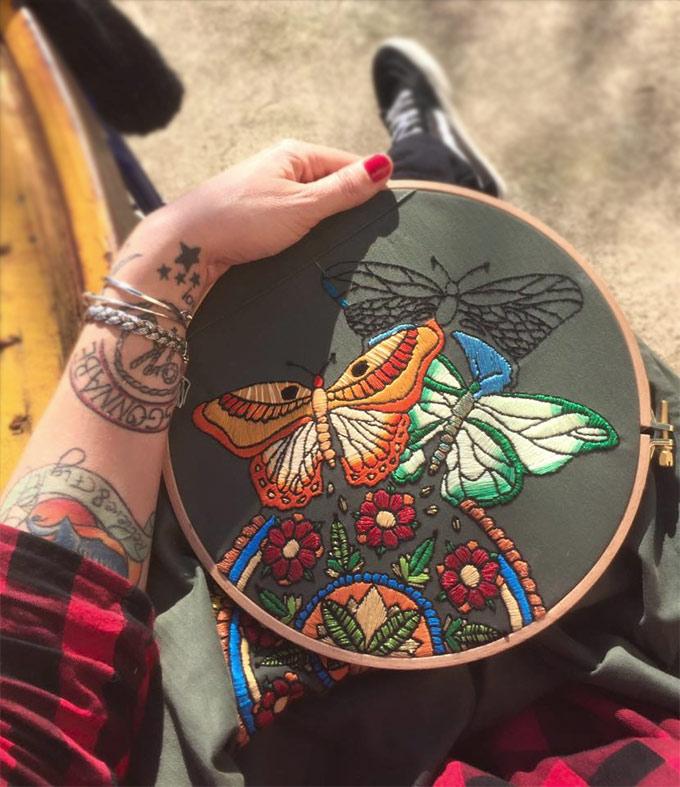 Interview Elise Vibert Vallet  - broderie et tatouages sur www.tricotine.com
