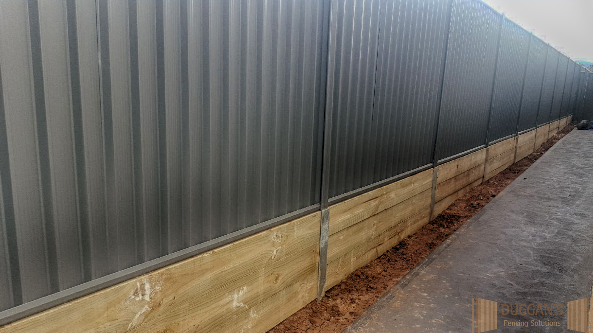 Colorbond Steel on a retaining wall