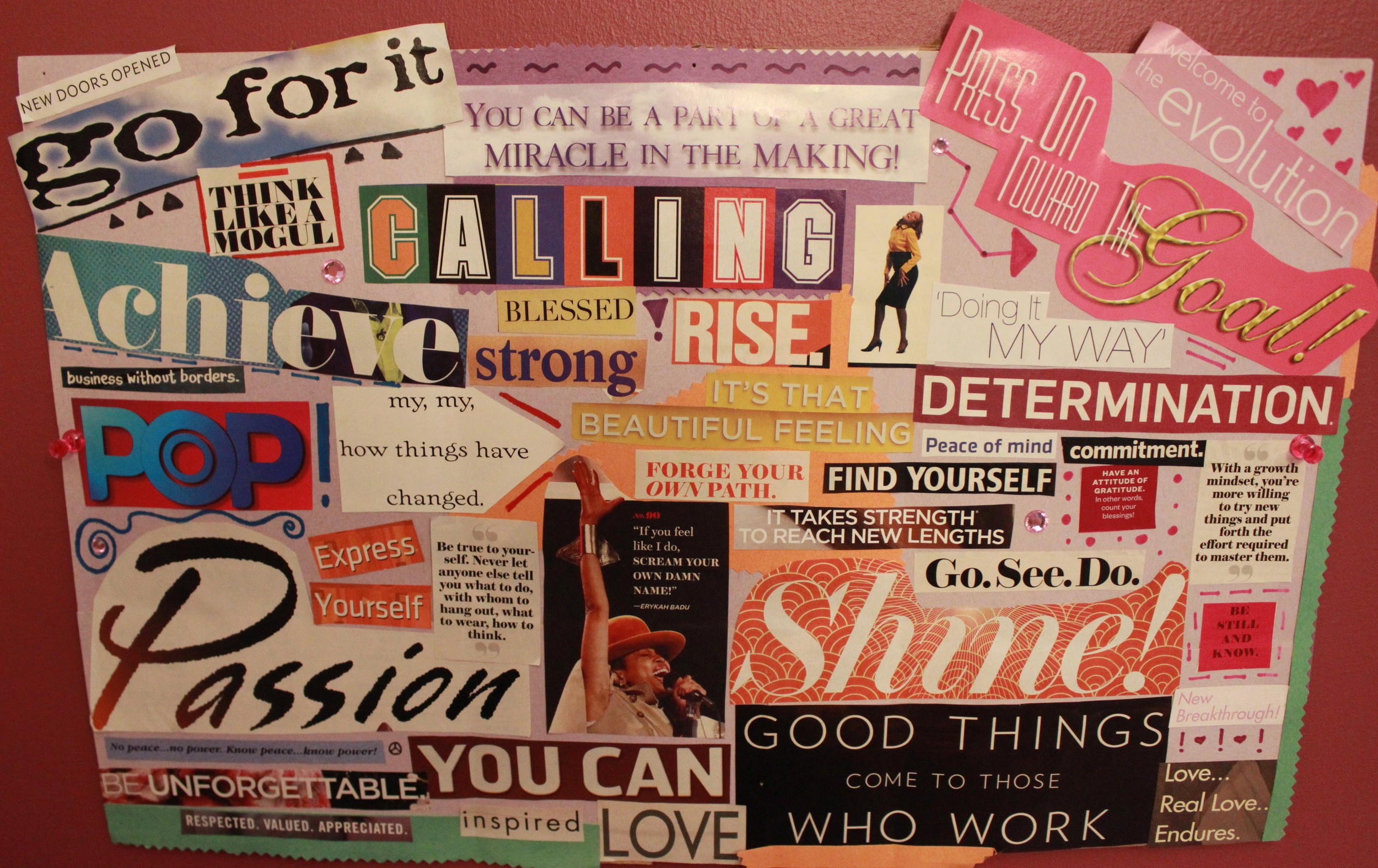 On this vision board, I added art in the empty spaces to give an extra pop!