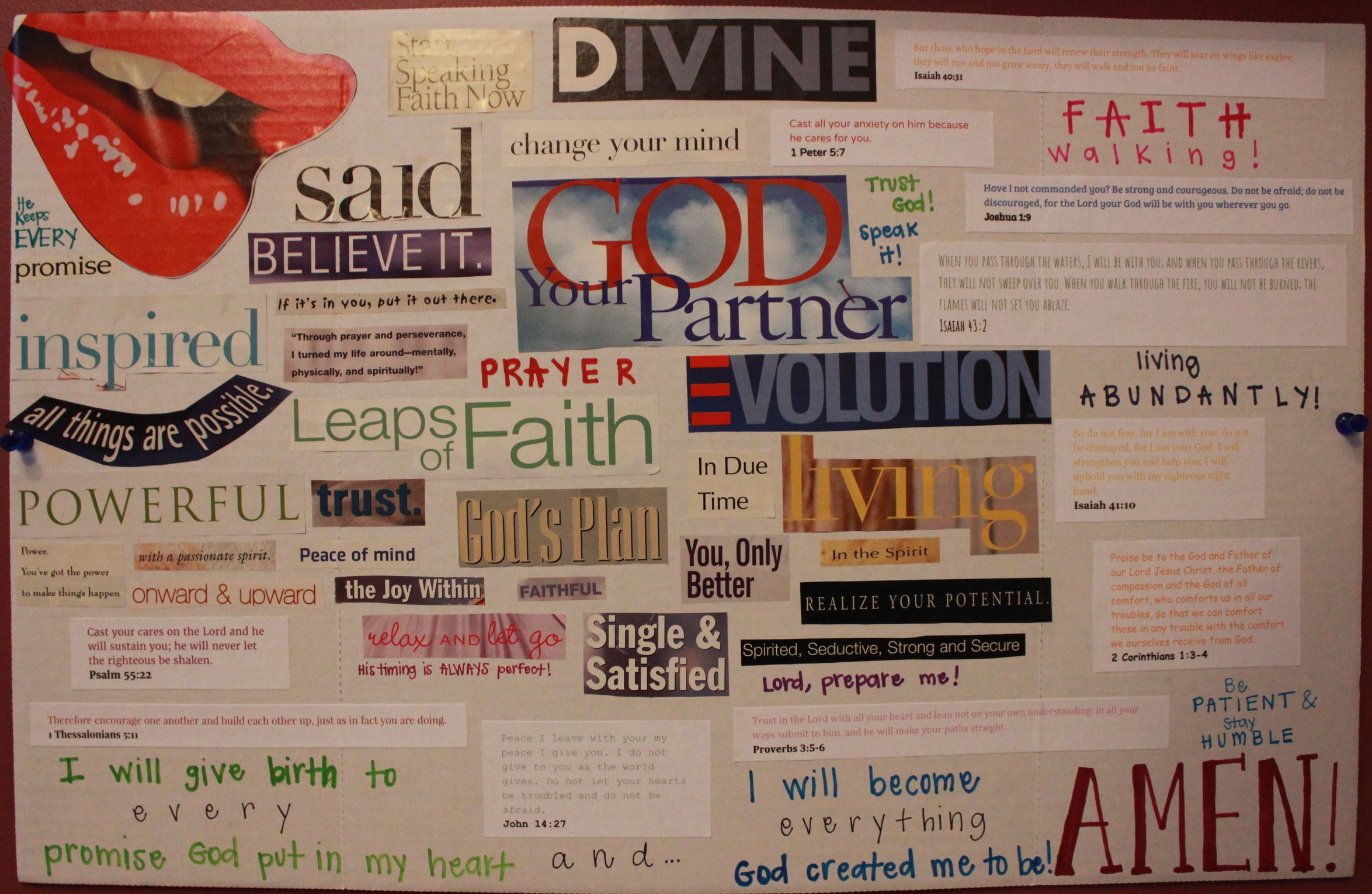For my spiritual vision board, I wrote out scriptures and phrases to add to the purpose of the board.