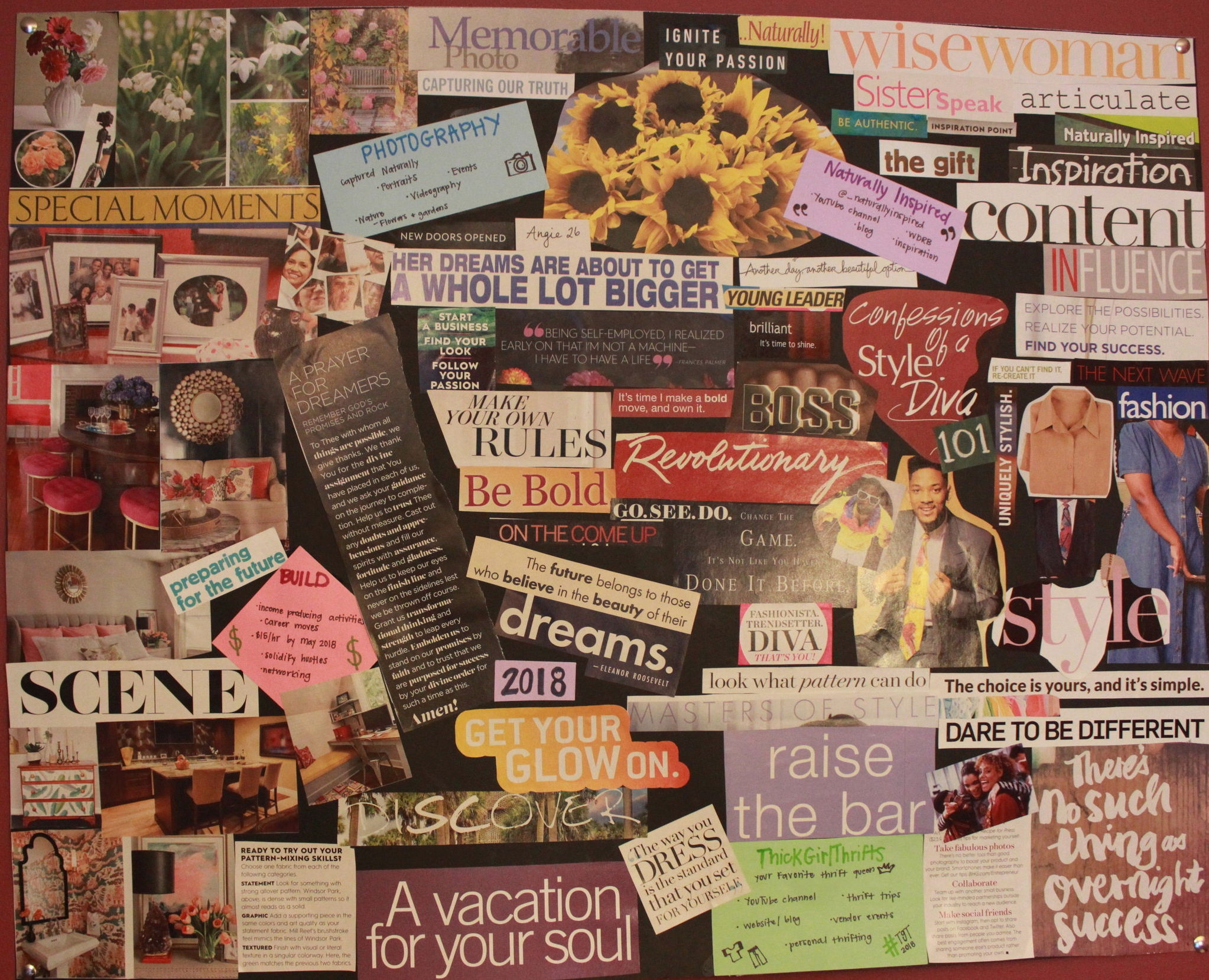 You choose what the focus of your vision board is!