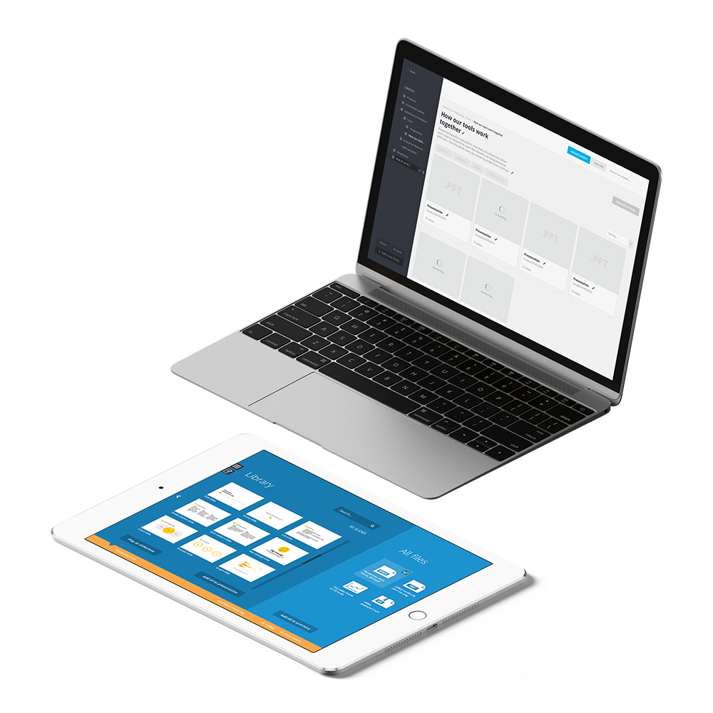 Salesframe works on different platforms from computers to tablets