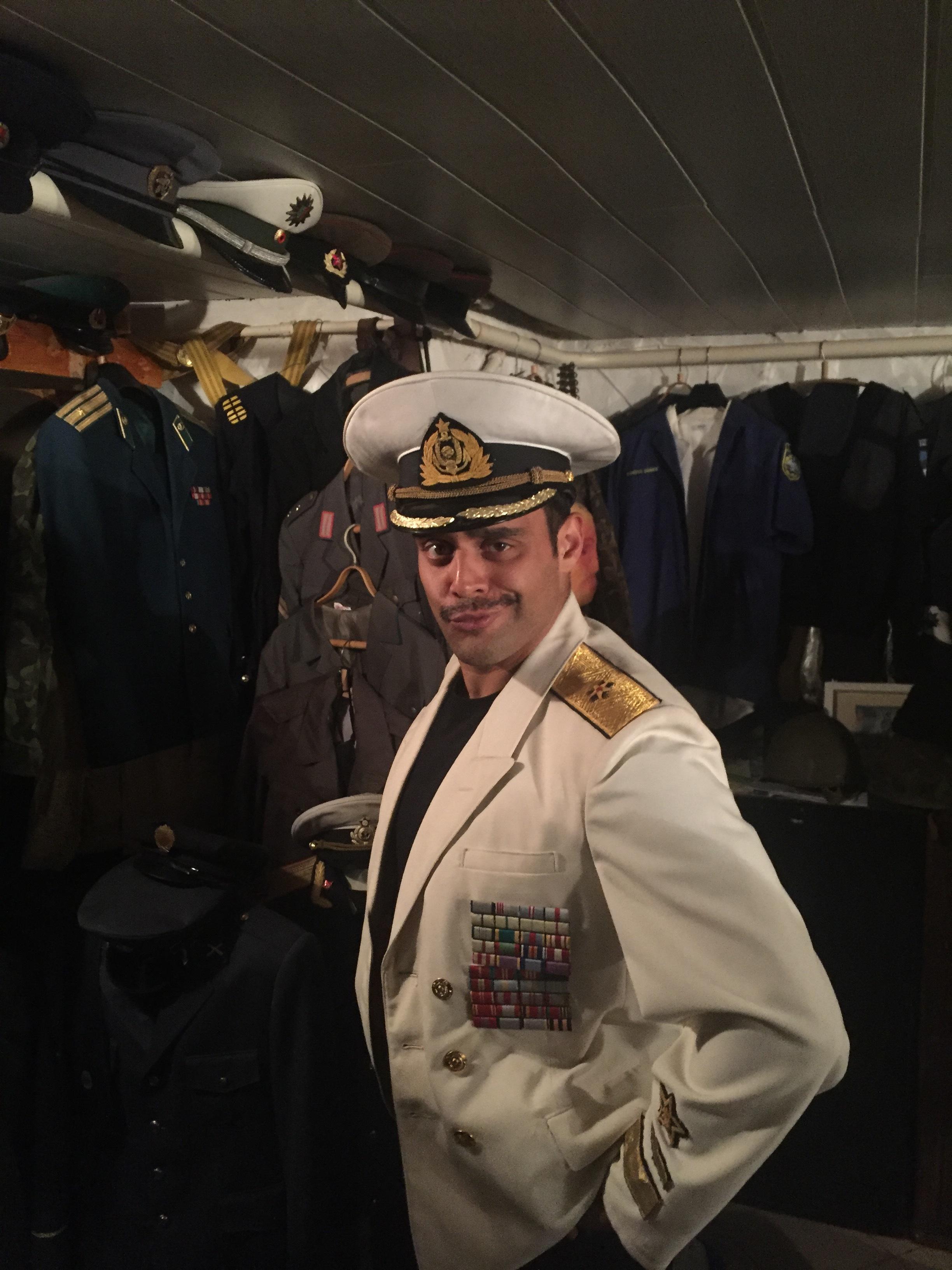 """Cultural exploration"" in Estonia. Wearing a Soviet admiral's uniform."