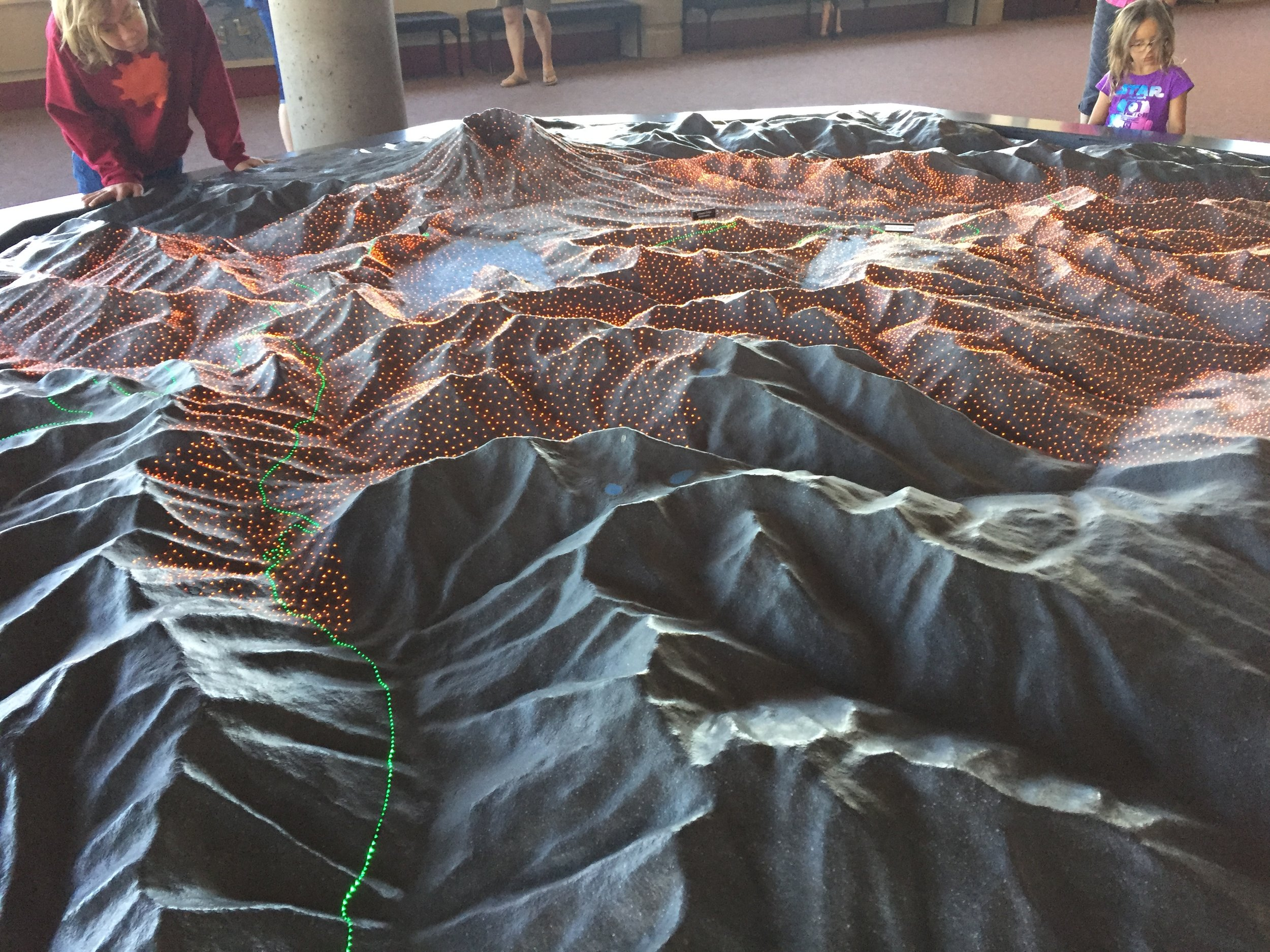 The model at the information centre, showing how far the pyroclastic flow reached: 15 miles!