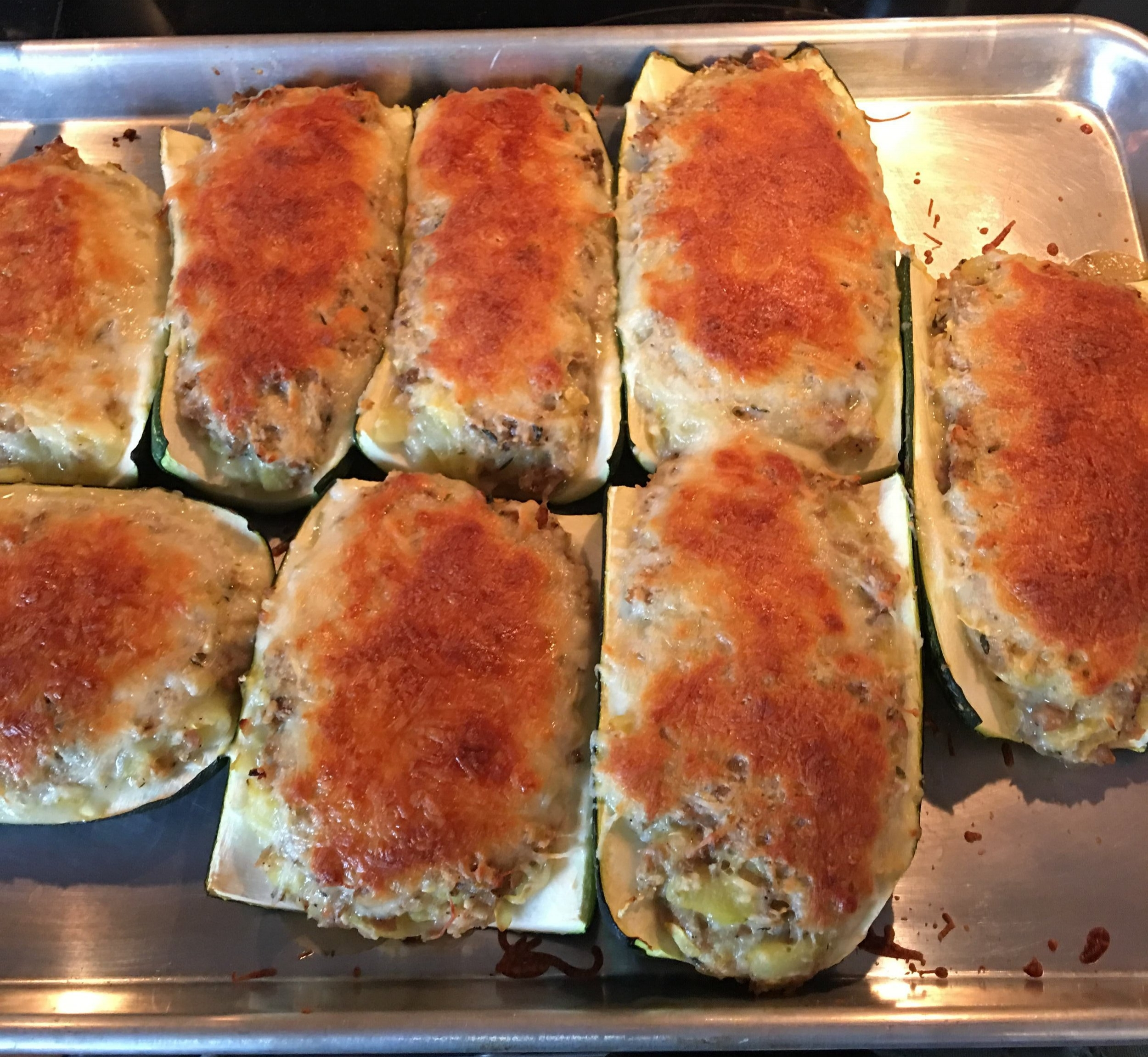 The final product. A clean and healthy version of stuffed zucchini. Try this healthy recipe today!