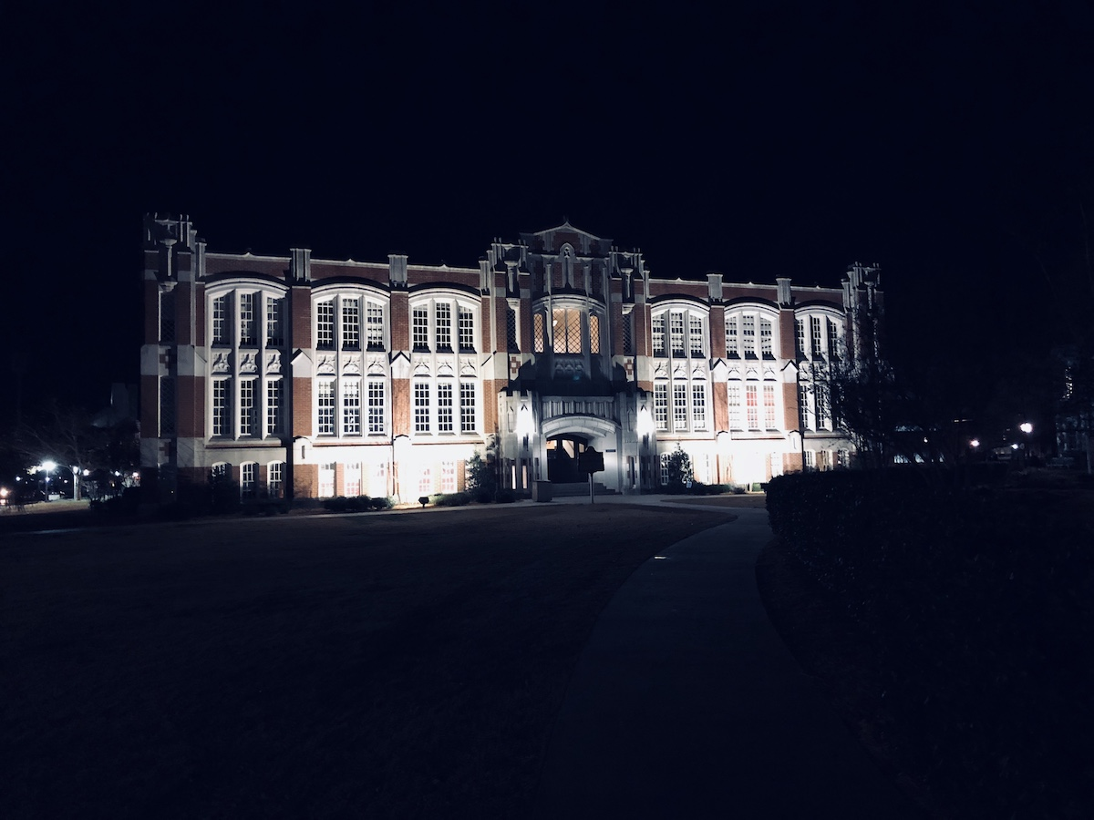 Carpenter Hall at Night, University of Oklahoma School of Music in Norman, Oklahoma.