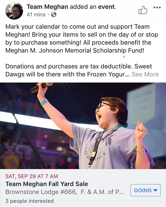 Just posted on the Team Meghan Facebook Page! Make sure to like and follow on Facebook @meghanteam to keep up to date on events!