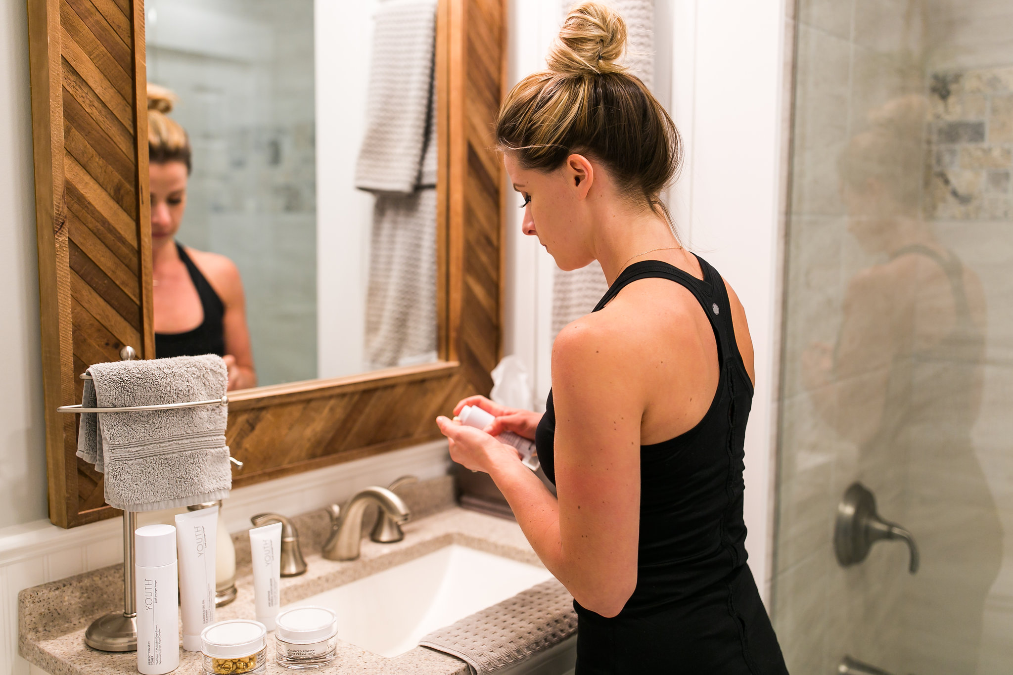 Chelsea Applying Skincare Products