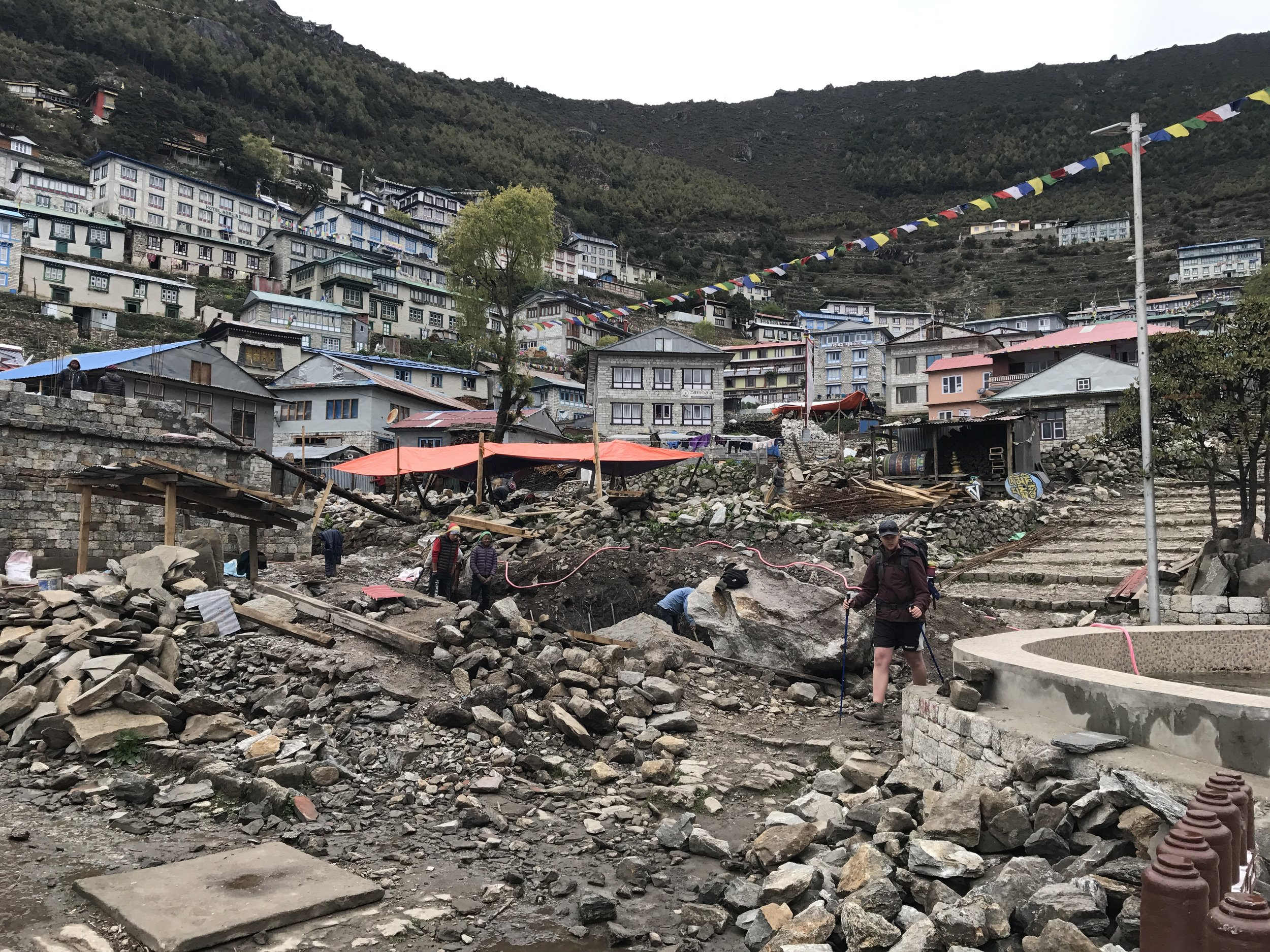 "the ""big smoke"": namche bazaar, still in recovery after the 2015 earthquake."