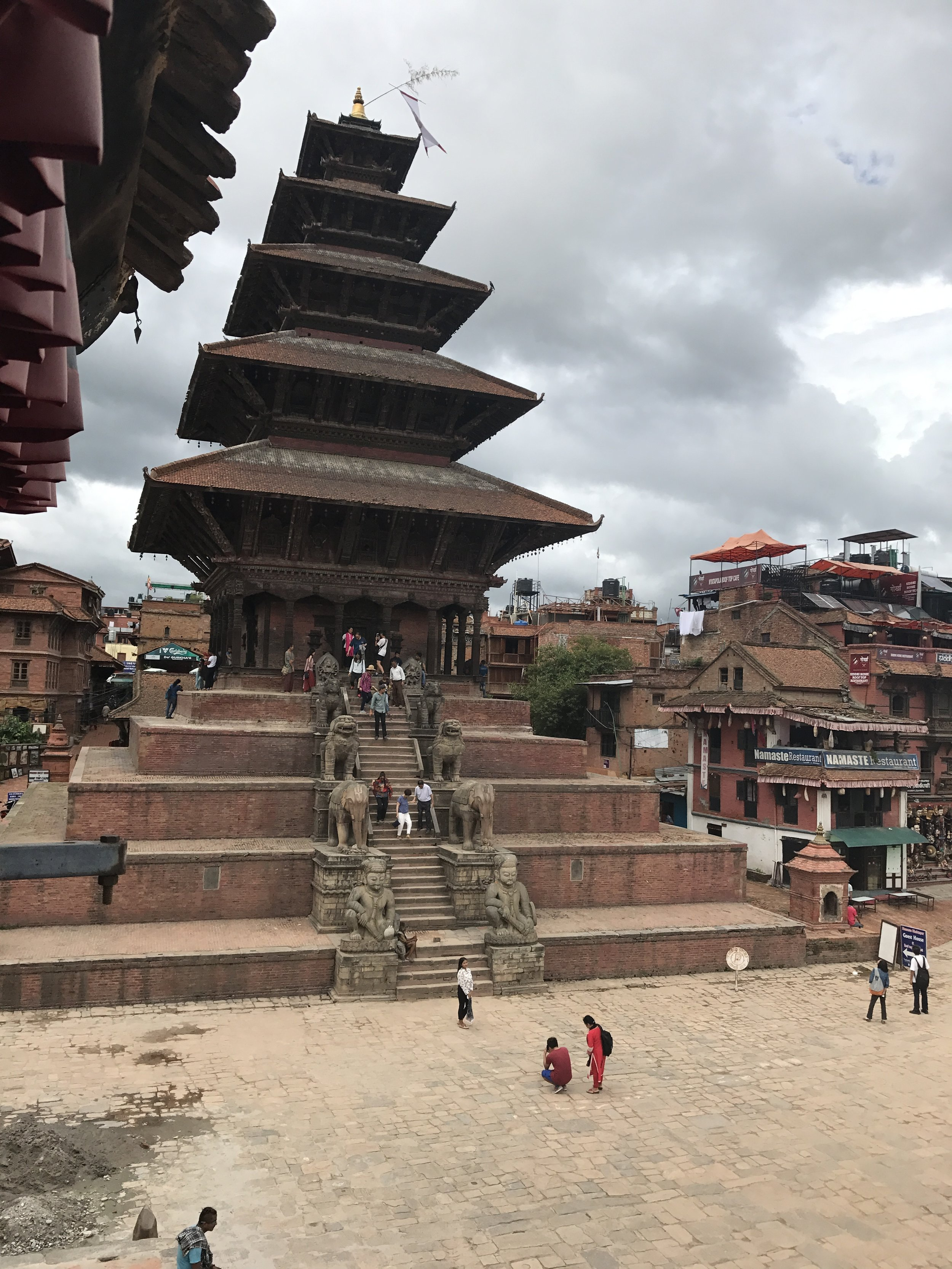 a large temple in bhaktapur - many had been damaged but this one fared well!
