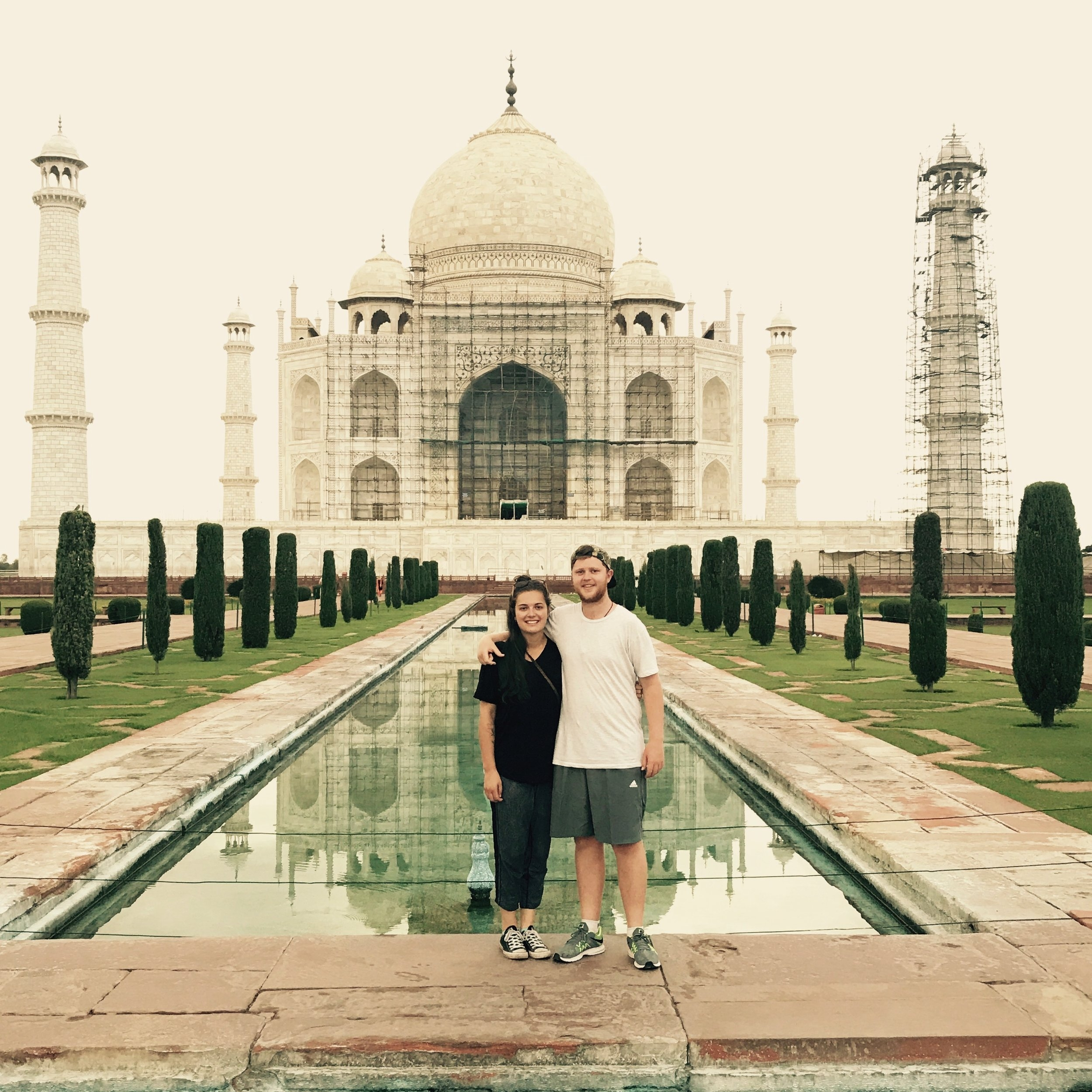 Boy and i in front of the taj mahal, agra