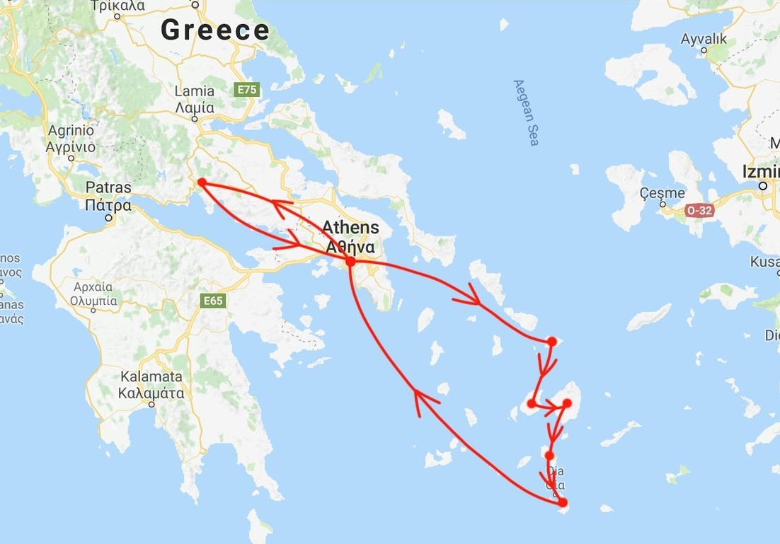 began in athens → mykonos → paros → naxos → ios → santorini → athens → delphi → return to athens