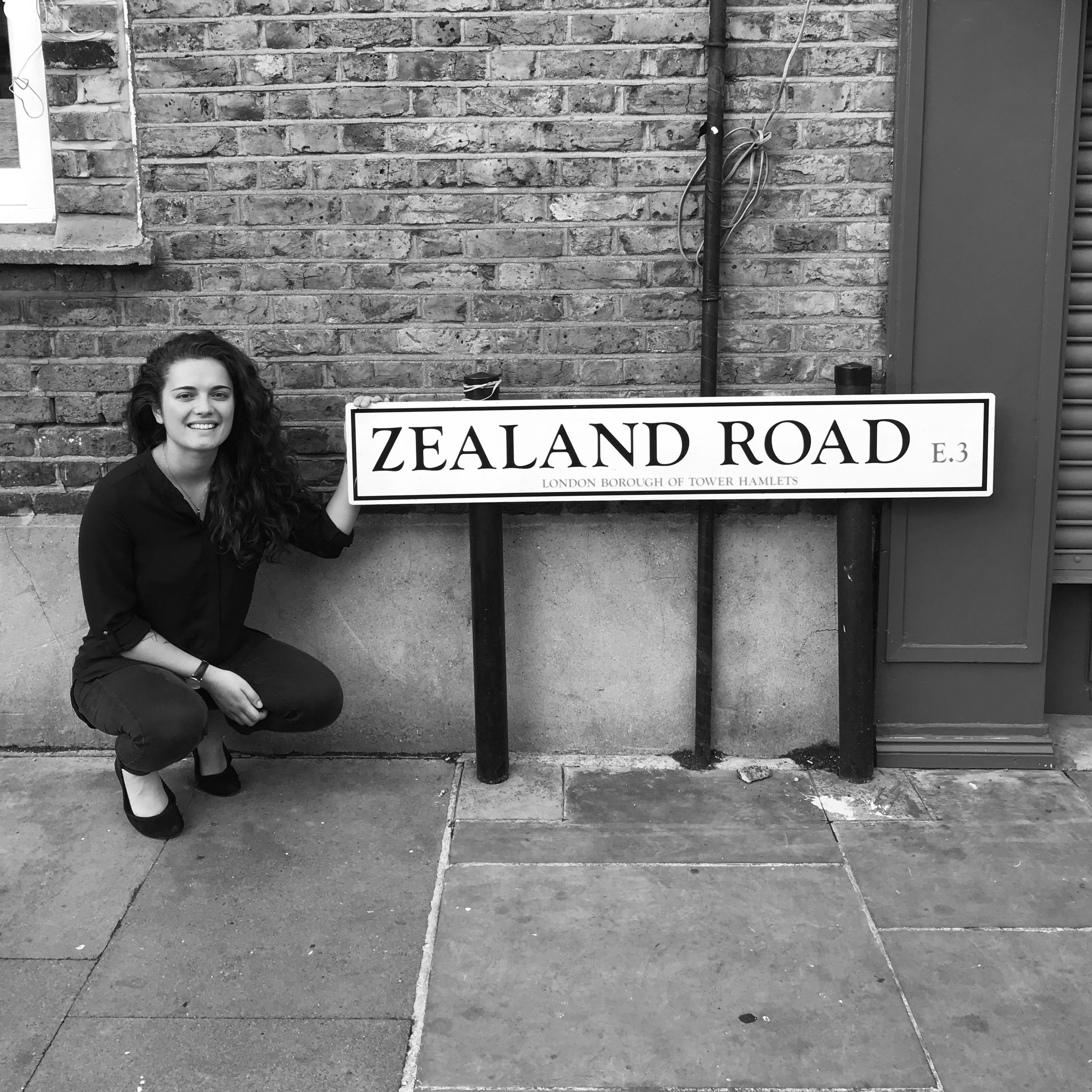 alicia and i managed to find a 'zealand road' sign - i'm what's new!!