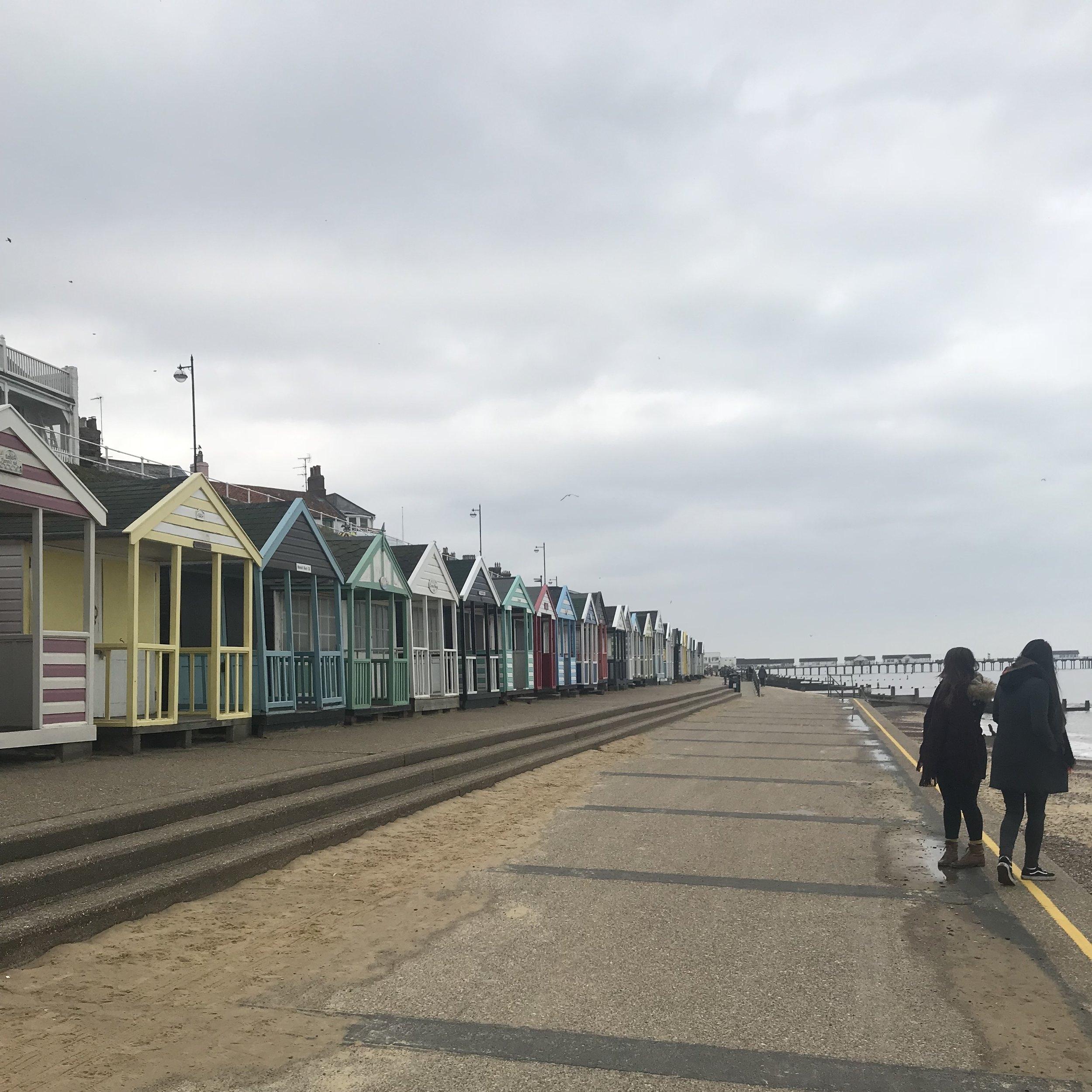 huts along southwold beachfront