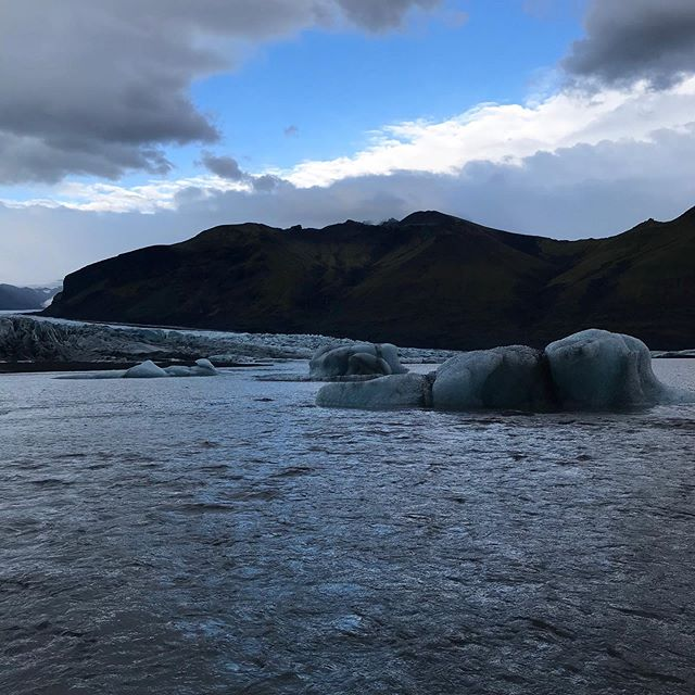 I found the ice! It was at the end of the glacier - and I think it looks like an elephant floating along (P.S., spot the Adam)