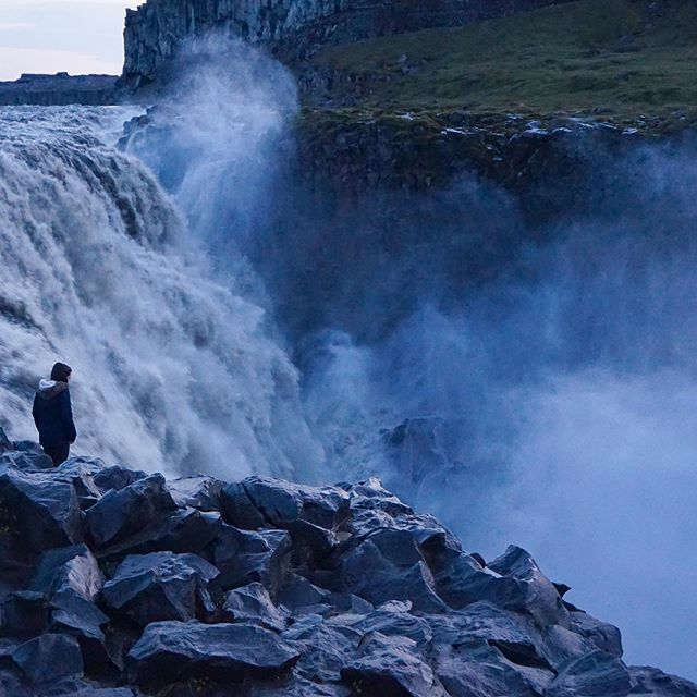 Cautiously approaching Dettifoss waterfall - apparently it's one of the most powerful waterfalls in all of Europe. You can take a lovely, non-pothole road to get to the built viewing platform on the other side, but that's no fun!
