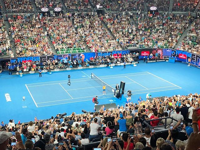 🎾 About to witness #Tennis history for #RogerFederer to win his 20th #GrandSlam at #AusOpen, and rooting for #Cilic at the same time! it's gonna be a happy evening now matter what 🙂 🎾