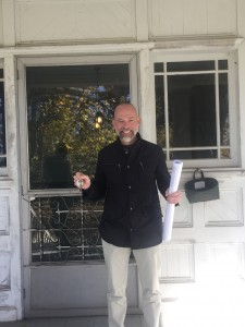 Jim with the keys and plans for the Patton-Parker House at 95 Charlotte Street.