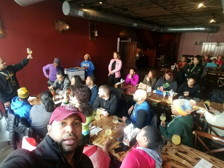 We Run The Lou! crew members take over  The BBQ Saloon ,one of our favorite brunch spots, with 25+ members after the  Hot Chocolate 5K/15K .