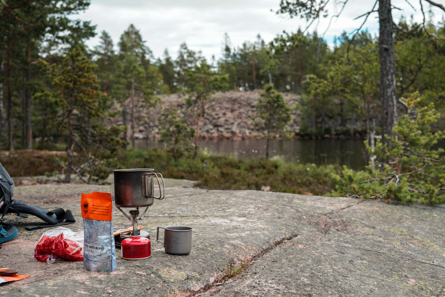 Lunch on a rock.