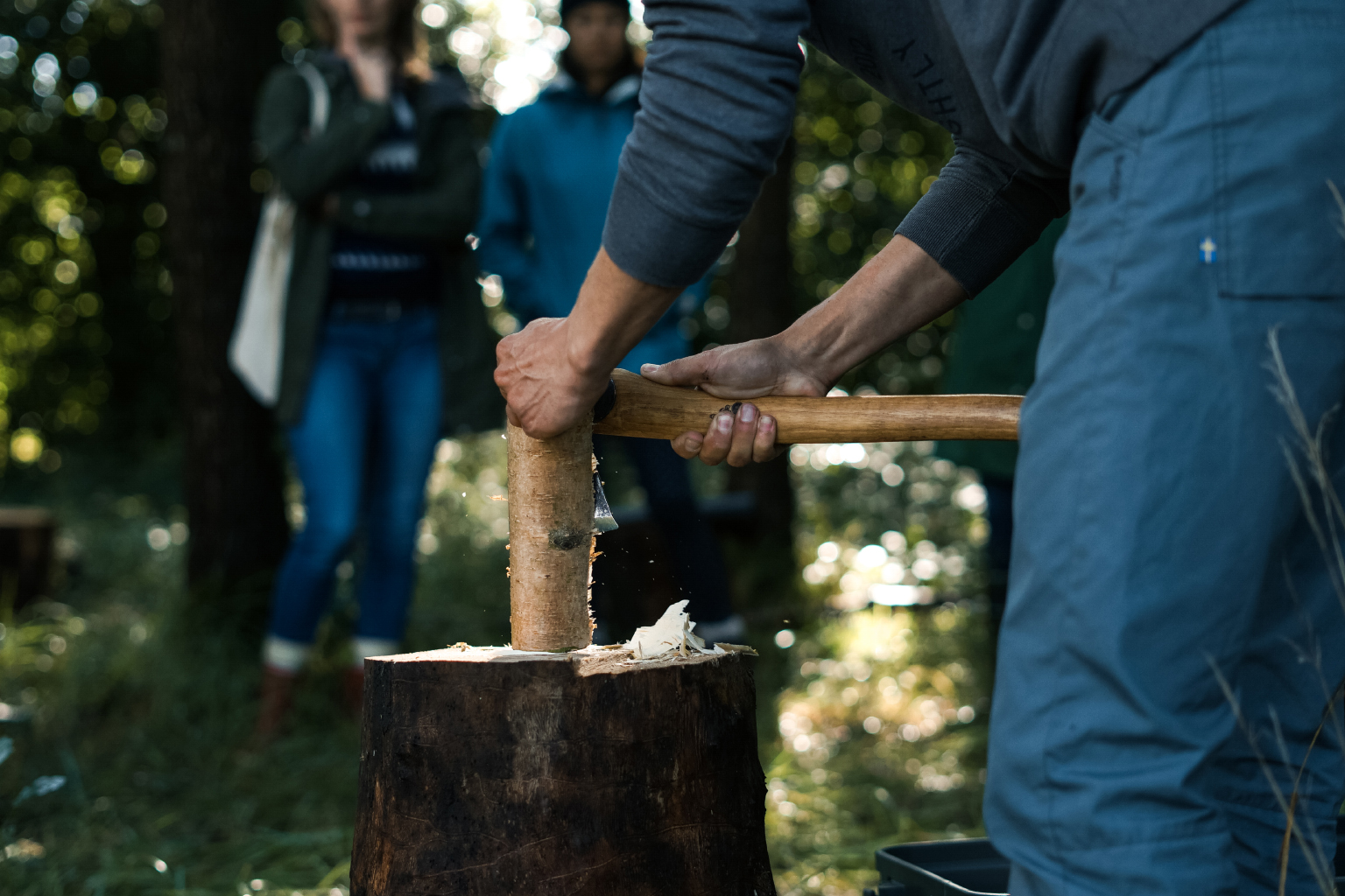 Demonstrating some axe techniques on our woodland workshop.