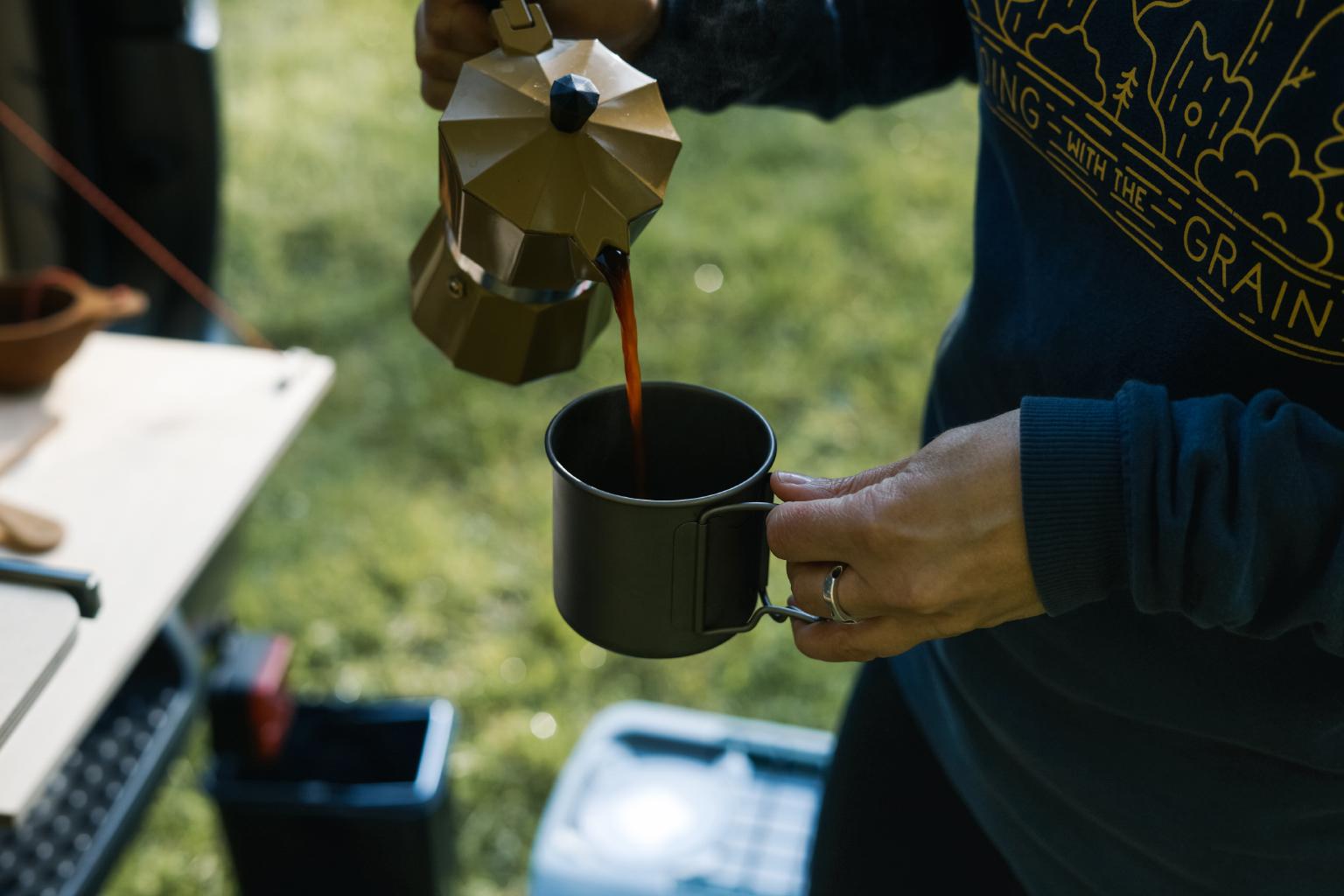 Coffee in our  titanium mugs
